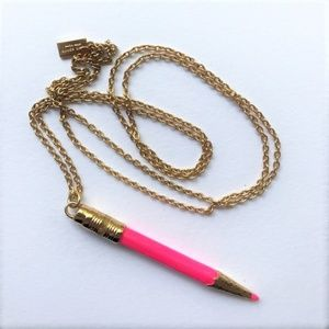 KATE SPADE Pink Doodles Pencil Necklace